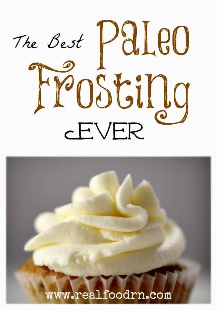 The best Paleo frosting ever! Made with healthy ingredients, but still works just as well as the stuff from a can. You can even pipe it to decorate fancy cakes! I will never use a different frosting again. You can definitely feel good about licking the bowl with this one! realfoodrn.com #paleo #paleofrosting