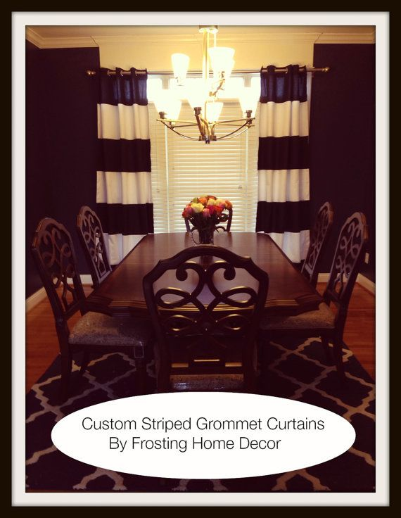 Custom Navy Blue Striped Curtains your Size by FrostingHomeDecor