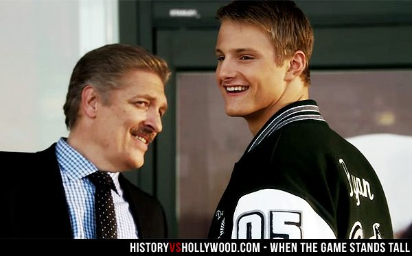 Alexander Ludwig as Chris Ryan in When the Game Stands Tall is pictured with his father Mickey Ryan (actor Clancy Brown). We explore the facts and the fiction in the When the Game Stands Tall movie: http://www.historyvshollywood.com/reelfaces/when-the-game-stands-tall/