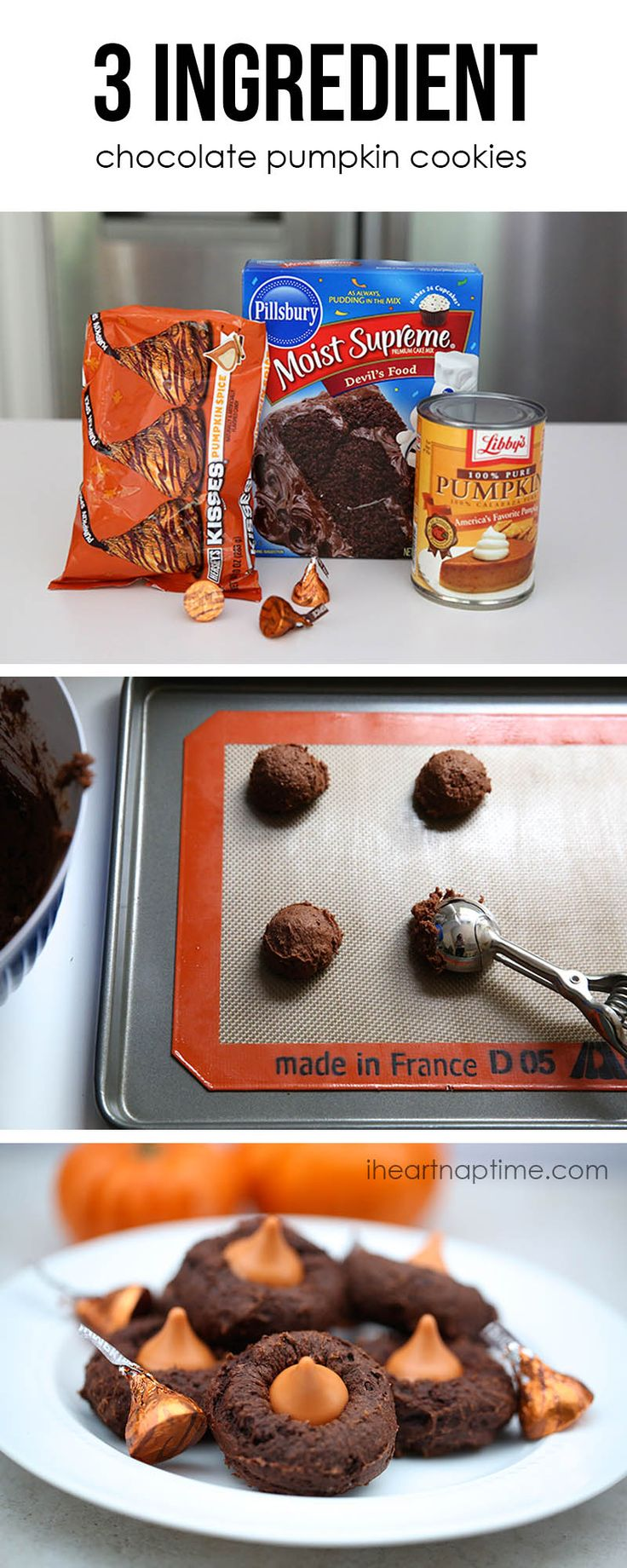 3 ingredient chocolate pumpkin cookies on iheartnaptime.com ...so easy and yummy! #fall #recipes (SF devils food cake mix.  Pumpkin, and I'm ok eating the sugar from one hershey kiss.) Making this soon!
