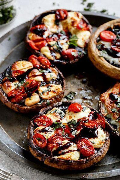 Caprese Stuffed Garlic Butter Portobellas - 15 Amazing Barbecue Recipes For Vegetarians - Photos