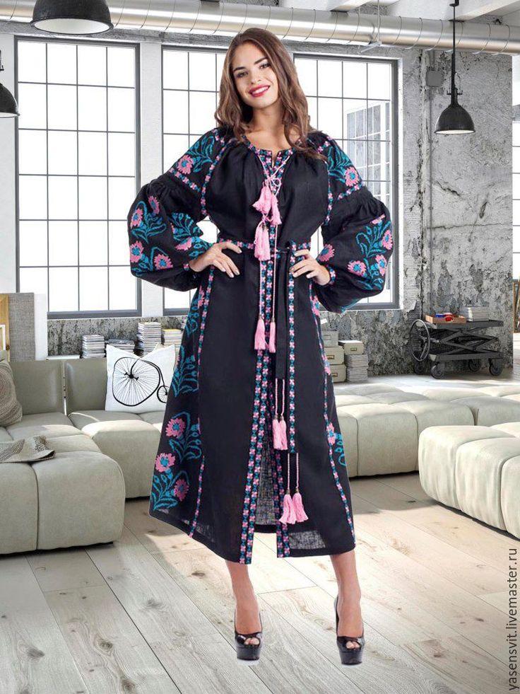 Купить Вышитое льняное миди платье Вышиванка Современный фольклорный стиль - вышитое платье