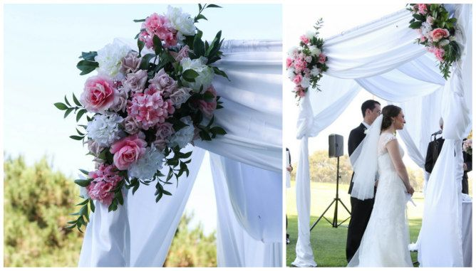white draped chuppah with pink and white flowers found on modern jewish wedding blog. Black Bedroom Furniture Sets. Home Design Ideas