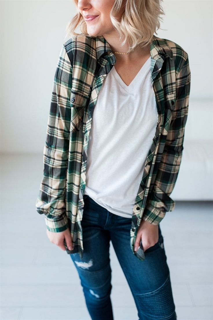 We LOVE plaid and it it is oh-so trendy this season, but this is not your typical heavy-duty flannel shirt. These jersey plaid button-ups are thinner, stretchy, soft, and oh-so comfy.