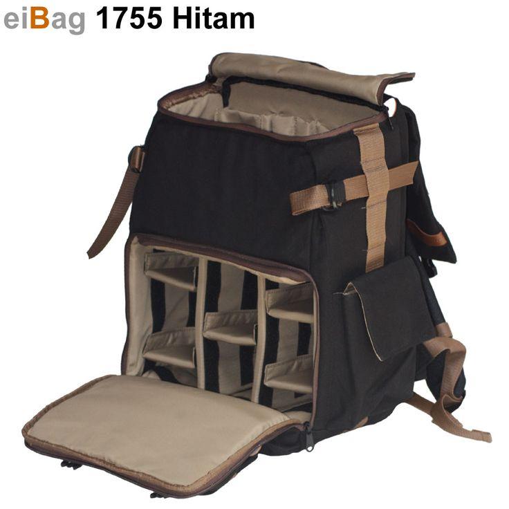 Tas Kamera EIBAG 1755 Hitam adalah tas kamera model ransel atau backpack yang bahannya menggunakan kanvas warna hitam. kapasitasnya bisa masuk 1-2 kamera dslr, 4-5 lensa tambahan, aksesoris kamera, dan laptop. Pada paket penjualannya sudah termasuk free cover bag. Tas kamera berkualitas bagus dengan harga jual murah, dan itu adalah ciri khas dari produk eiBag