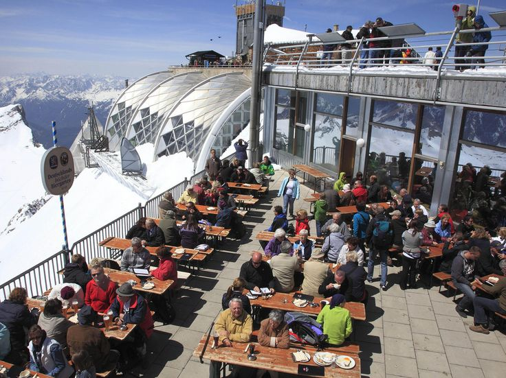 """The so-called """"highest beer garden in Germany"""" sits atop the Zugspitze, which just so happens to be the highest mountain in Germany (makes sense). Although it takes some effort to reach this sprawling terrace—accessible only by cable car or foot—it's undoubtedly worth it to take in views of the Alps with a cold beer in your hand. —Caitlin MortonRead more: The Coolest Beer Gardens Around the World"""