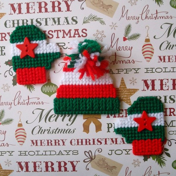 "Plastic Canvas:  ""Wintermint"" Clothing Magnets (set of 3 -- hat and 2 mittens) by ReadySetSewbyEvie on Etsy"