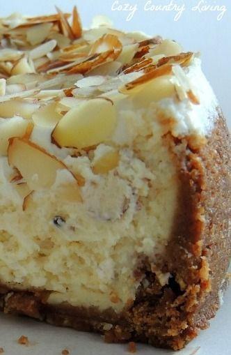 White chocolate and almond amaretto cheesecake.