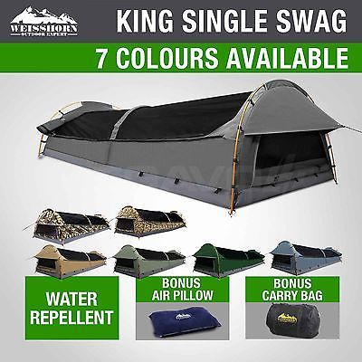 Weisshorn King Single Swag Camping Swags Canvas Tent Deluxe Aluminum Poles