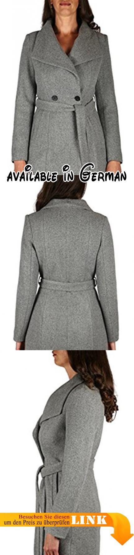 """1655-2 Damen Wollmantel """"Cootic"""" aus Woll-Mix mit breitem Revers (grau, M). Taillierte Passform, Rock in Glockenform. 2 Außentaschen. Gürtel #Apparel #OUTERWEAR"""