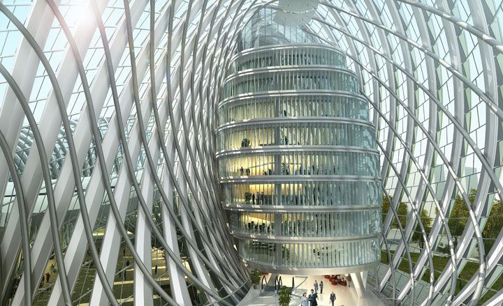 Fluid lines encapsulating a soaring interior  define the new mobius/donut-shaped Phoenix TV building in Beijing, China | BIAD-UFO, Beijing (2012)