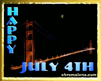 Facebook/MySpace Happy 4th of July Comment - Golden gate bridge with animated fireworks