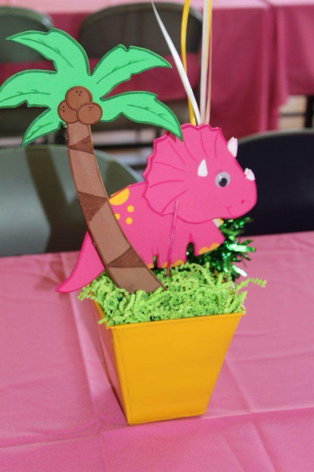Pink dinosaur centerpiece girl party