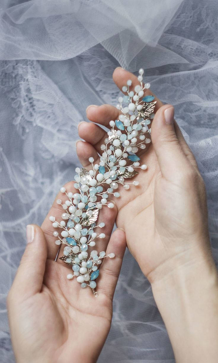 Wedding twig in the bride's hairstyle with blue rhinestones on silver – shop online on Livemaster with shipping