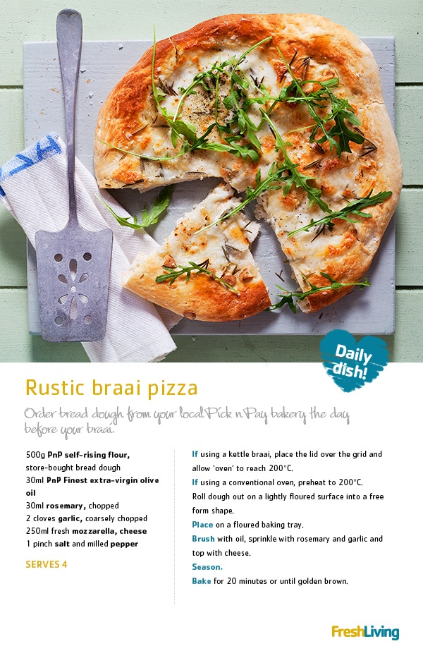 RUSTIC BEAUTY: Combine SA and Italian cuisine to create a mouthwatering #rosemary and #garlic #braai #pizza. #picknpay #dailydish #recipe