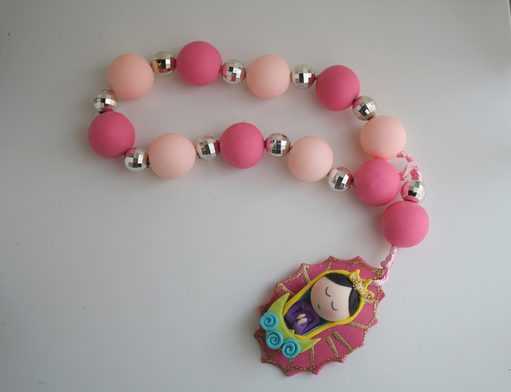 Virgencita Large Decorative Pink Rosary. $16.00, via Etsy.
