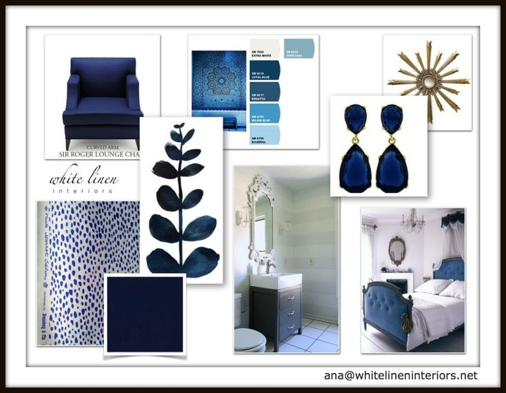 navy blue color scheme decor idea board by white linen interiors interiordesign - Interior Design Idea Board