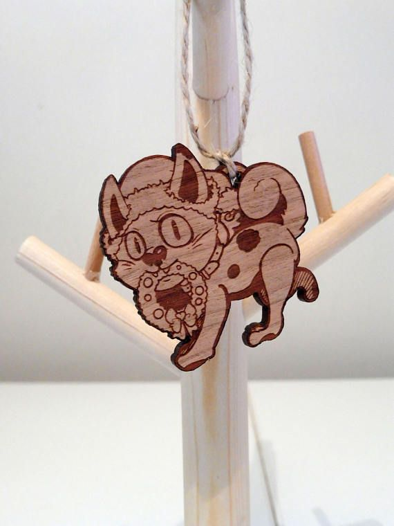 Christmas Kitty wooden ornament