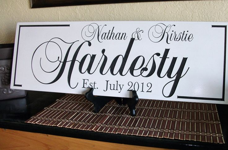 Personalized Family Name Sign Last Name Sign Family Established Sign Engraved and Painted 8 x 22 by CustomSignworks on Etsy https://www.etsy.com/listing/101107276/personalized-family-name-sign-last-name