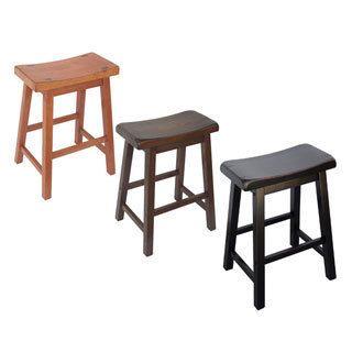 Delightful Saddle Seat 24 Inch Counter Stools, Solid Asian Hardwood, Walnut Finish, (