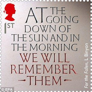 One stamp features lines from Laurence Binyon¿s war poem ¿For the Fallen¿