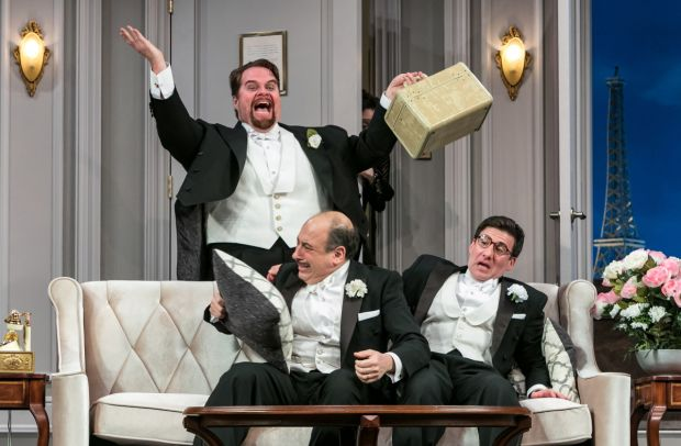 John Treacy Egan, Michael Kostroff, and David Josefsberg in Ken Ludwig's A Comedy of Tenors, directed by Don Stephenson, at Paper Mill Playhouse.