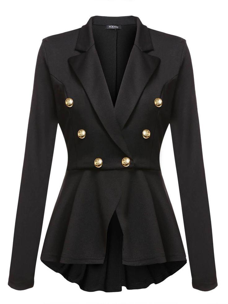 Black Blazer Casual Peplum Slim Fit de manga larga para mujer dresslink.com