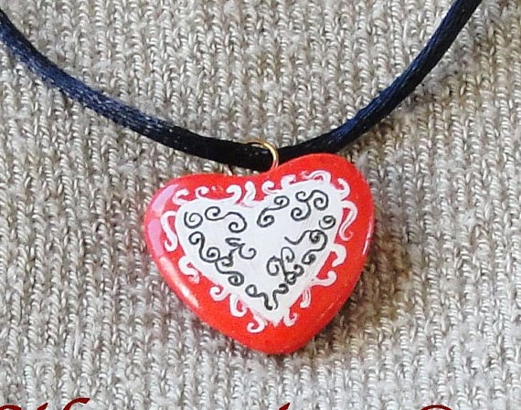 Valentine Red Heart one of a kind handpainted  by LissSilverwing, $ 20