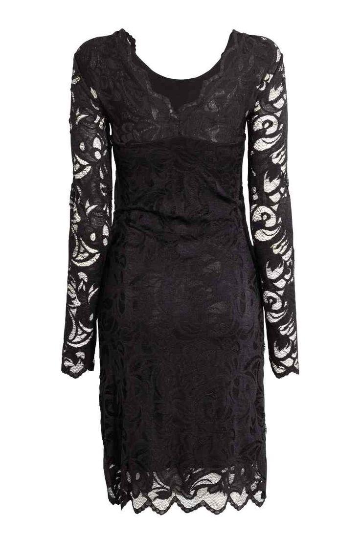 MAMA Koronkowa sukienka: Podkreślająca figurę sukienka z elastycznej koronki. Na plecach dekolt w serek, długi rękaw. Z dżersejową podszewką.