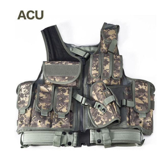Police Tactical Vest Outdoor Camouflage Military Body Armor Sports Wear Hunting Vest Army Swat Molle Vest Black