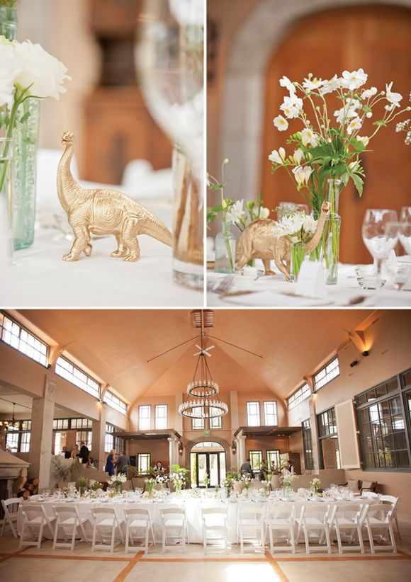 Spray painted gold dinosaurs at place setting. Love the idea of including childhood toy and making at elegant.