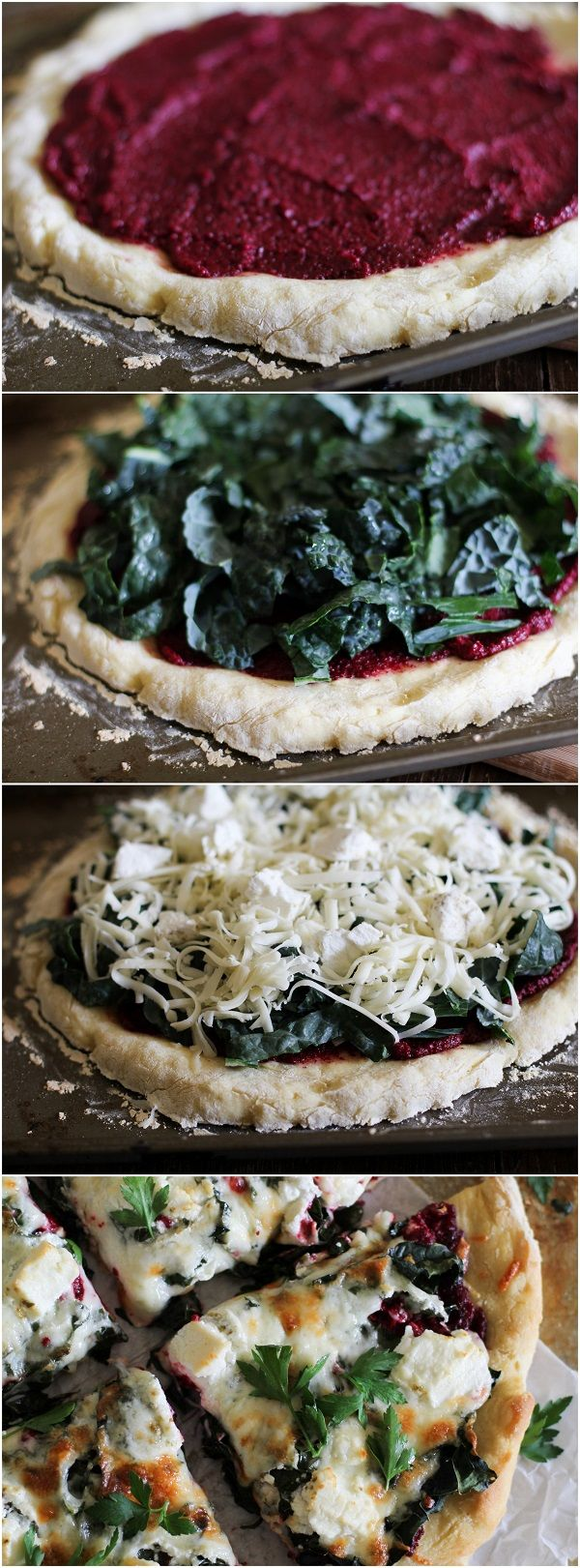 Beet Pesto Pizza with Kale and Goat Cheese 1 lb whole wheat pizza dough 1 cup beet pesto 2 cups kale leaves, thinly sliced 1.5 cups mozzarella cheese, grated 2 ounces goat cheese