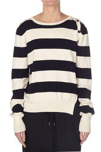 stripe button detail knit natural / black   bassike