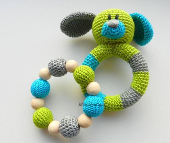 Ready to ship! SET of 2 Colour: green, turquoise, grey Dog crocheted with love from 100% cotton yarn and stuffed with a polyester fiberfill and
