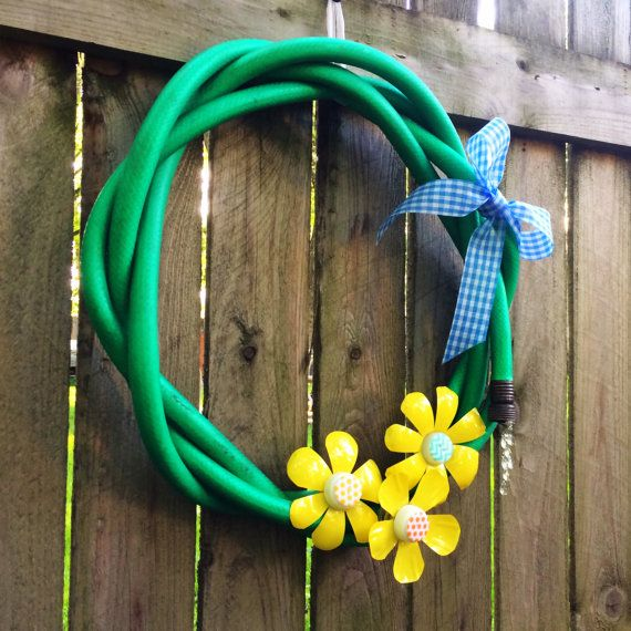 Recycled Garden Hose Wreath by DaynaDecor on Etsy
