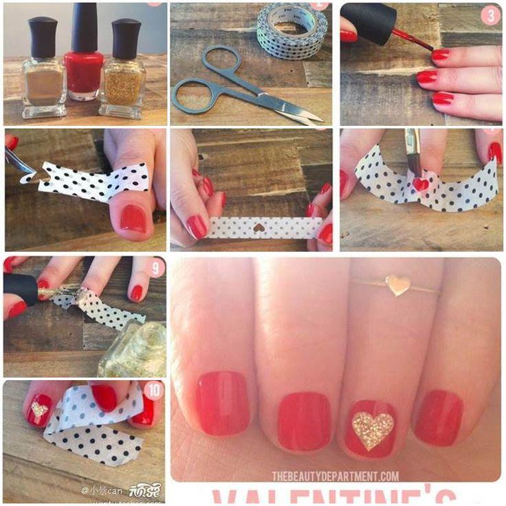 DIY Valentines Heart Nail 1