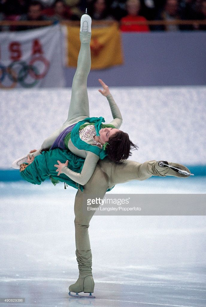 Natalia Mishkutionok and Artur Dmitriev of Russia, siver medallists in the pairs figure skating event during the Winter Olympic Games in Lillehammer, Norway, circa February 1994.
