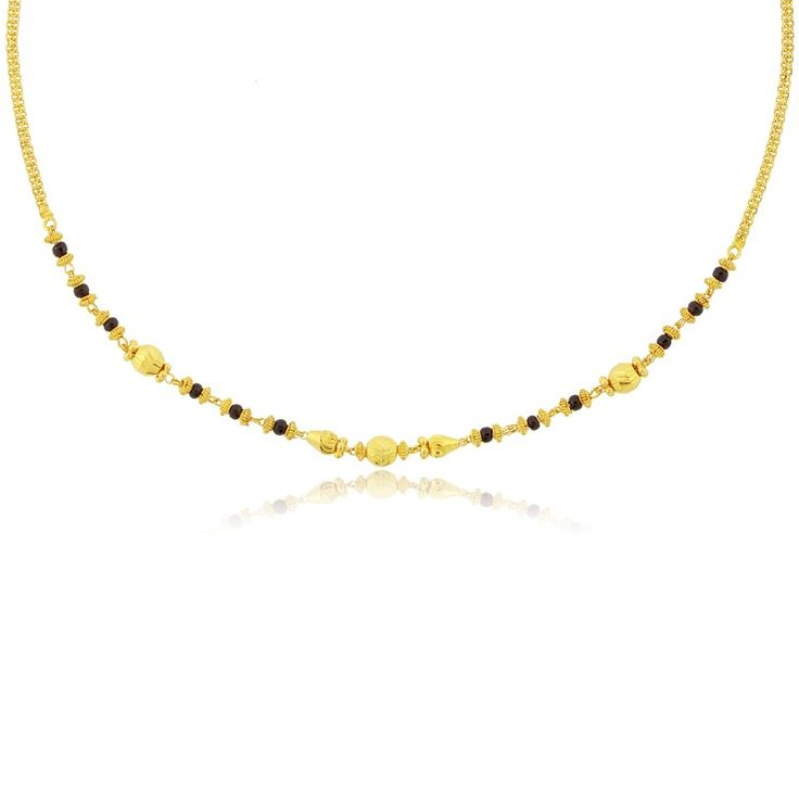 22 K yellow Gold Mangalsutra with black beads