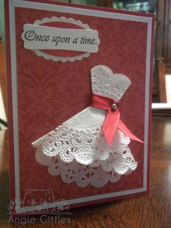 """""""Bridal Shower Card"""" ~ Dress is made from a doily. Very clever."""