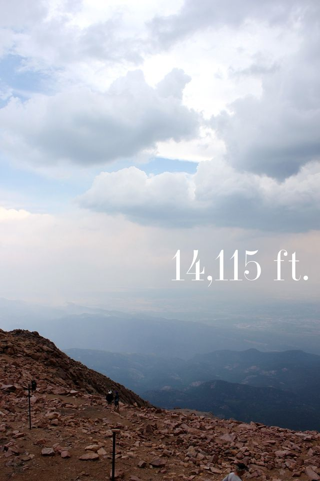 Pike's Peak in Colorado. Elevation: 14,115 feet. I can't believe I hiked all 22 miles of it, eek!
