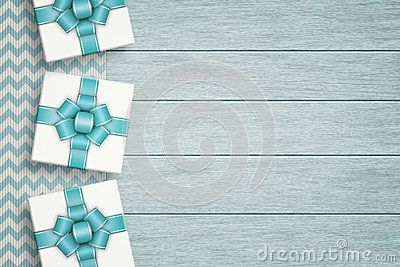Elegant gifts lying on zigzag tablecloth with place for text