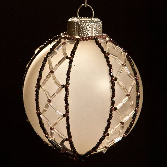 Victorian Diamonds hand beaded Christmas by GallopingGlass on Etsy