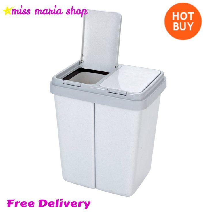 Kitchen Rubbish Bin Office Dual Waste Baskets 2x30Lt Grey Twin Recycling Granite