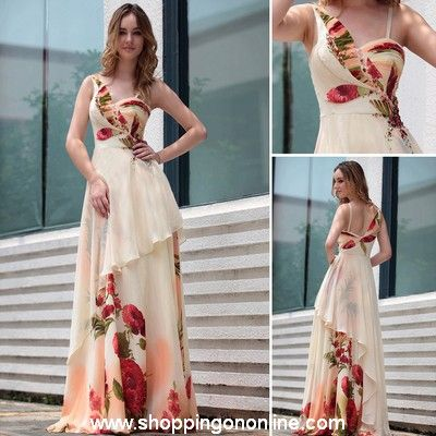 Long Evening Gown - Asymmetric Printed $199.99 (was $282) Click here to see more details http://shoppingononline.com #LongEveningGown #PrintedEveningGown #LongDress #CustomMadeDress