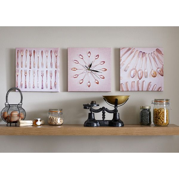 Graham & Brown neutral kitchen cutlery set of printed canvas clock wall art found on Polyvore featuring polyvore, home, home decor, wall art, canvas wall art, graham & brown, neutral home decor and home wall decor