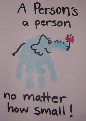 Horton handprint Dr. Seuss - Fun Way to Celebrate Seuss Birthday.