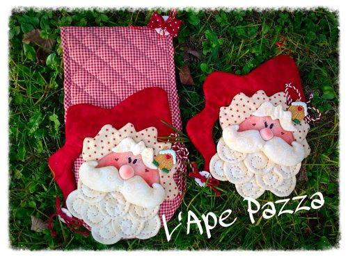 Patrones Santas y elfos 2014: patrón de papel agarradera y el botón de Santa Blueberry