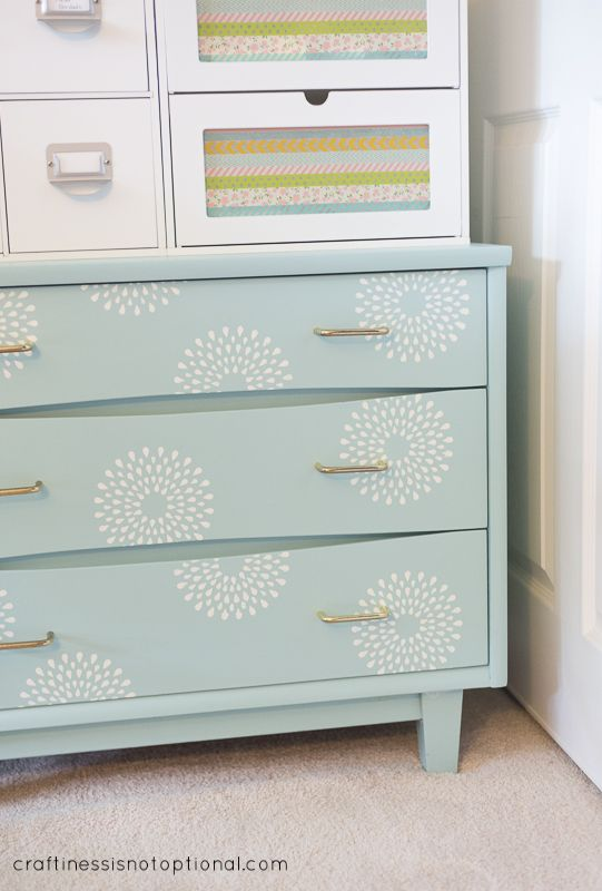 Craftiness Is Not Optional Re Love Your Stuff Stenciled Dresser Drawers
