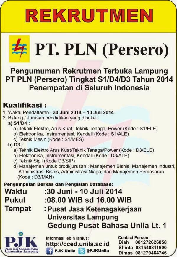 Rekrutment PLN Lampung Tingkat S1/D4/D3 Tahun 2014