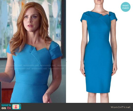 Donna's blue folded detail dress on Suits.  Outfit Details: http://wornontv.net/50639/ #Suits